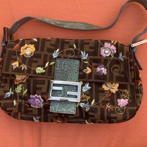 Fendi Embroidered Canvas with Leather Strap